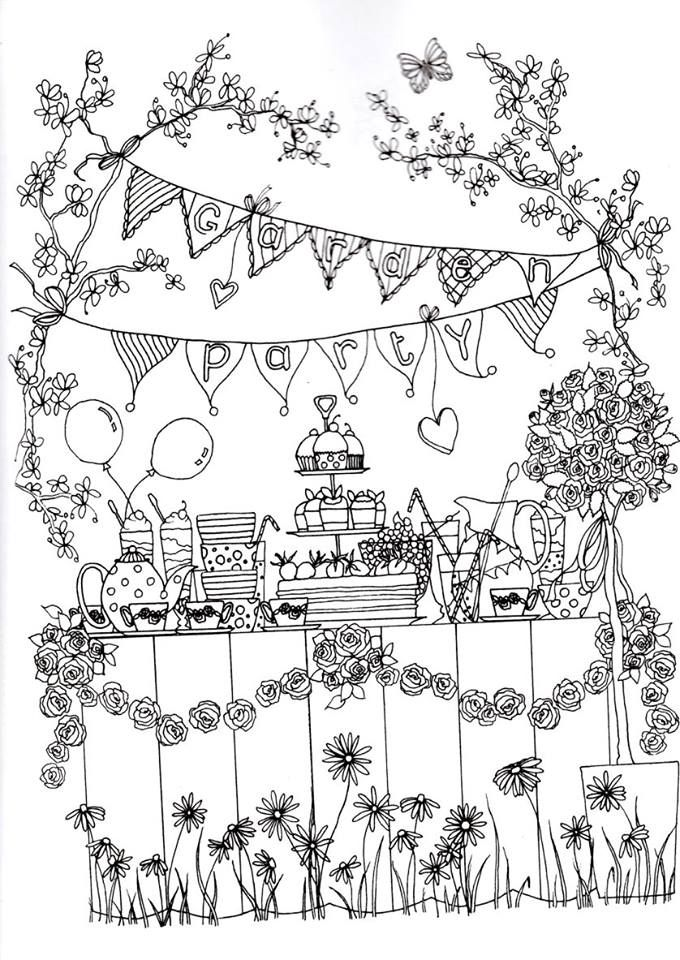 Garden party para colorir