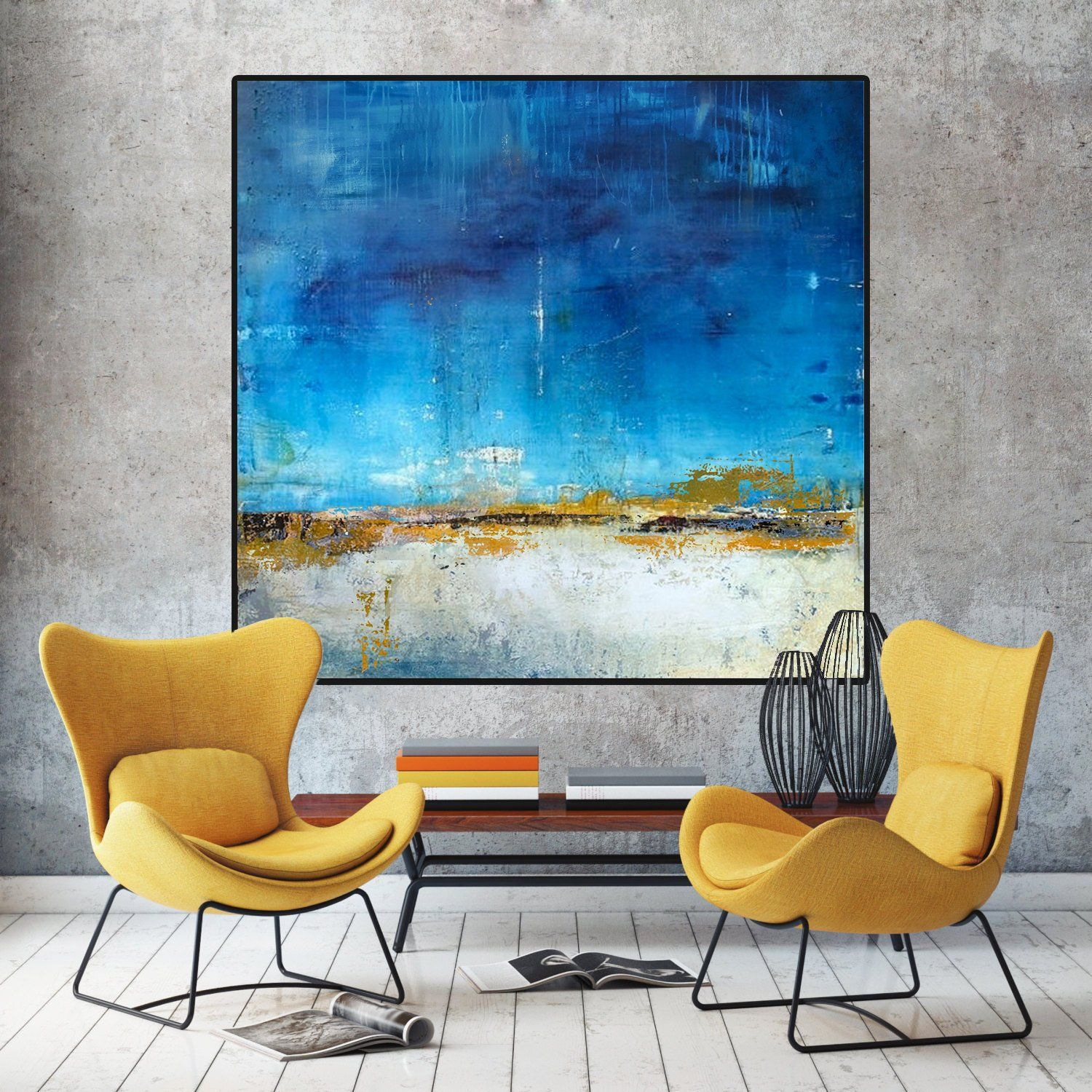 Original Blue Sky Abstract Painting,Sea Level Abstract Oil