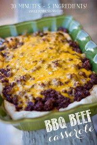 Cheesy BBQ Beef and Biscuit Casserole #beefbake