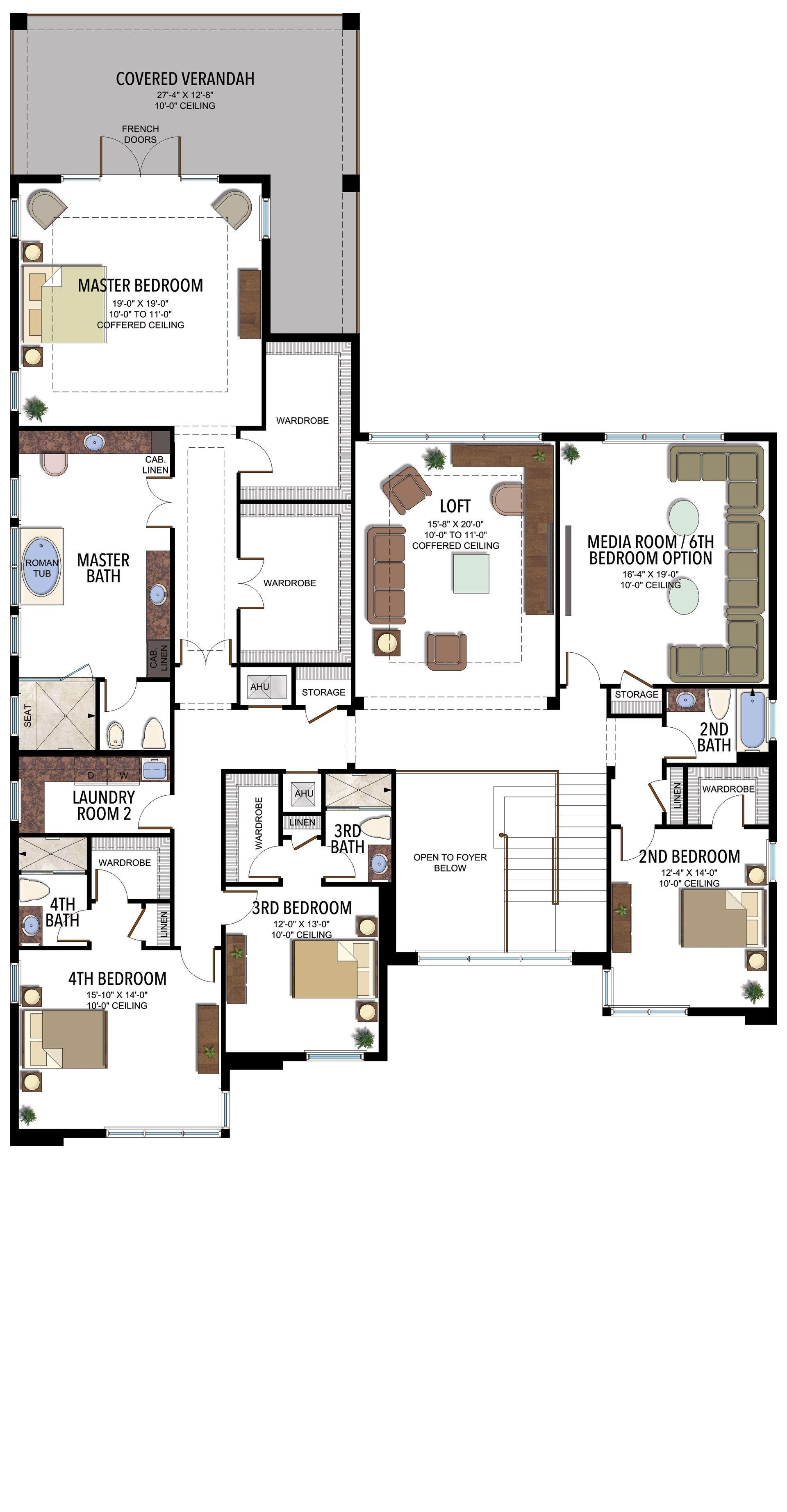 French Master Bedroom, Mansion Plans