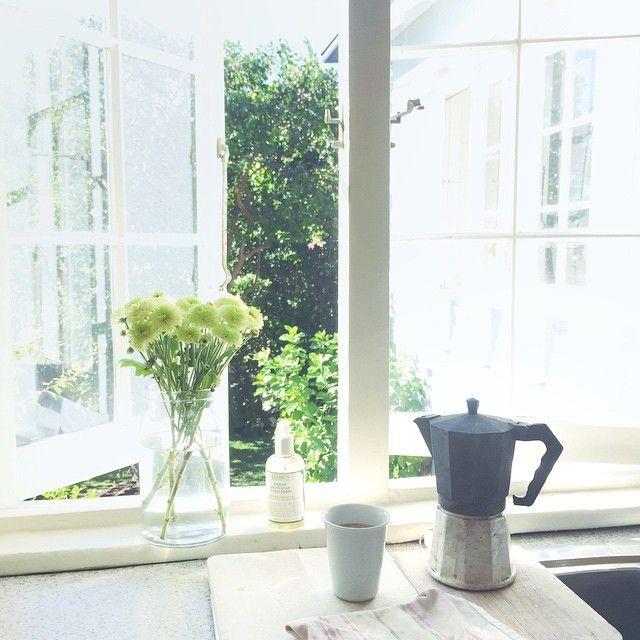 coffee, open windows, sunshine  abeachcottage