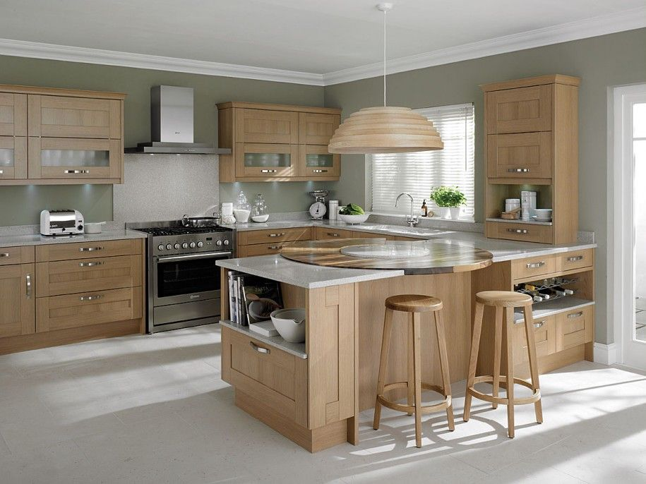 Awesome Light Oak Wooden Kitchen Designs Light Oak Wooden Kitchen Designs With White Gray Wall