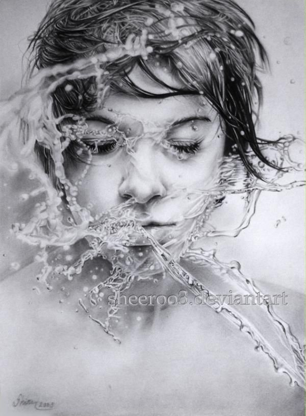 amazing pencil drawing. This is seriously good. I could never ever never be able to draw water like this, let alone someone being splashed by it. I just love this!