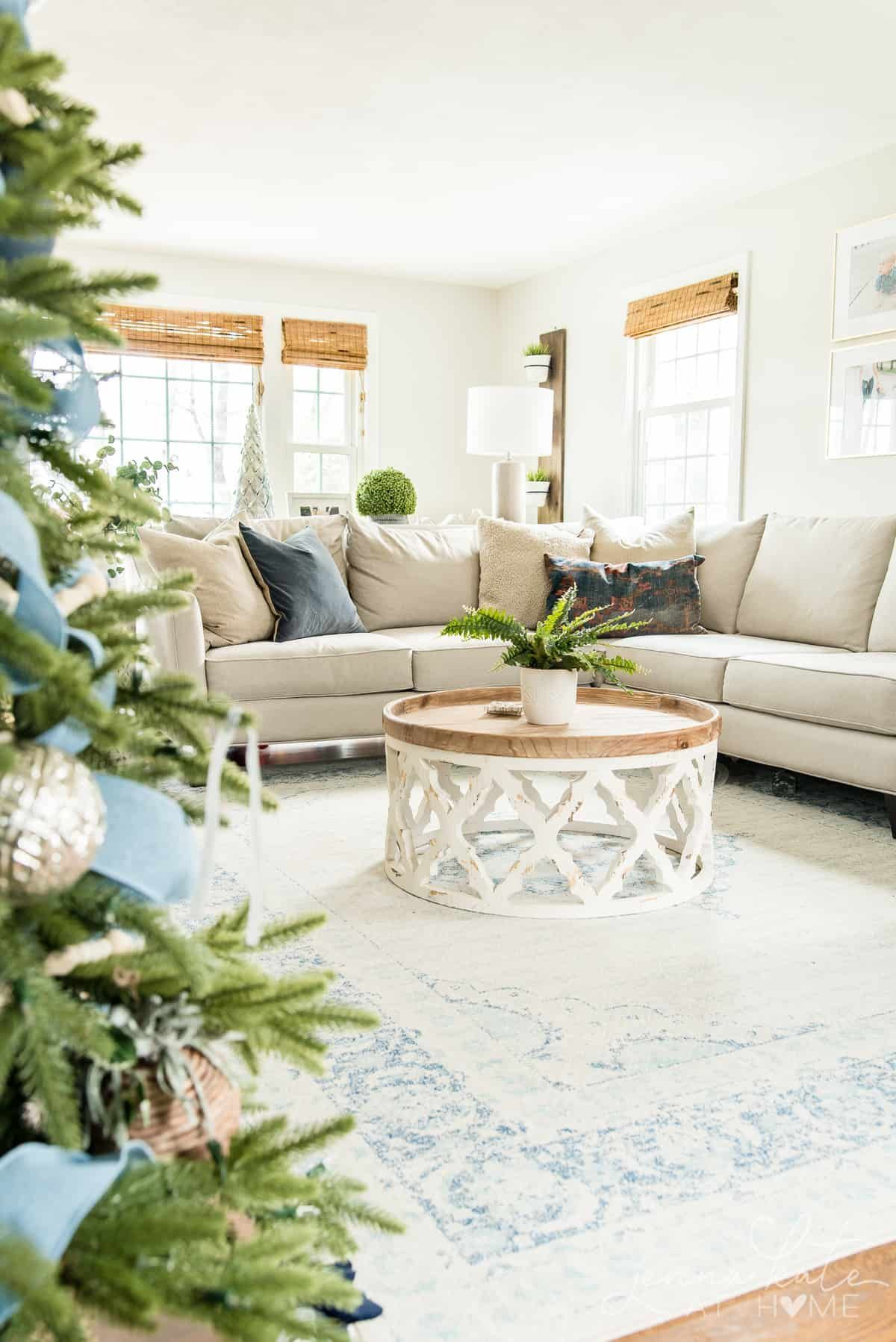 Blue And Silver Christmas Decor Home Living Room Remodel