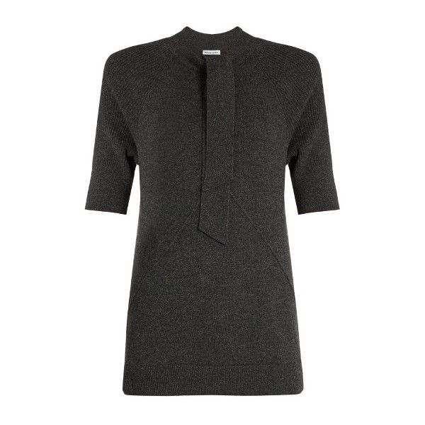 Tomas Maier Tie-neck cashmere-knit top ($546) ❤ liked on Polyvore featuring tops, sweaters, raglan sweater, tie neck sweater, half sleeve tops, neck ties and tie neck top