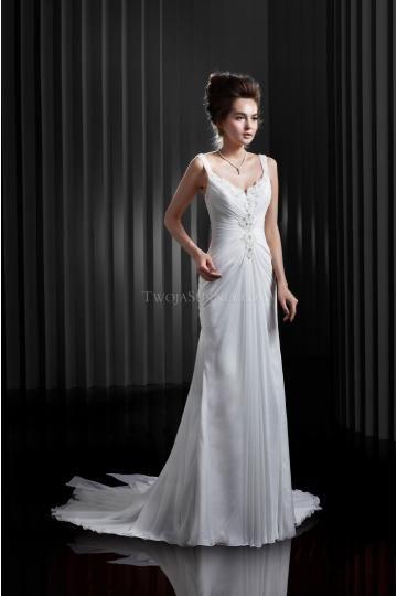 Elegant V-hals Chiffon Bruidsjurken Online