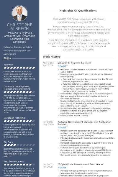 Yellowfin Bi Systems Architect Resume Example  Cvs
