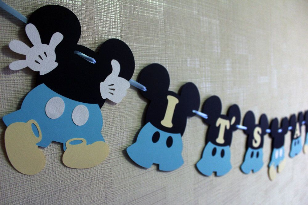 Baby Mickey Mouse Baby Shower Decorations Boy   Disney Inspired Baby Blue  Party Decorations Mickey Baby Shower Banner Itu0027s A Boy Welcome