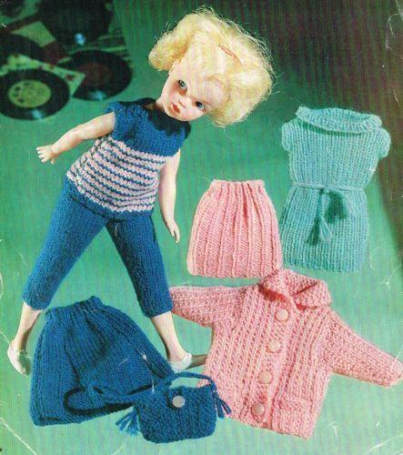 12 Dolls Clothes Knitting Pattern Barbie Sindy Minated Vintage