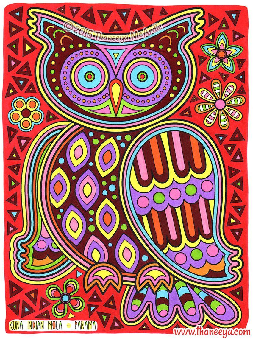 Kuna Mola Owl Coloring Page From Thaneeya McArdles Folk