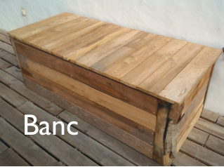 Banc en bois garden pinterest storage and decoration - Banc de jardin en bois de palette ...