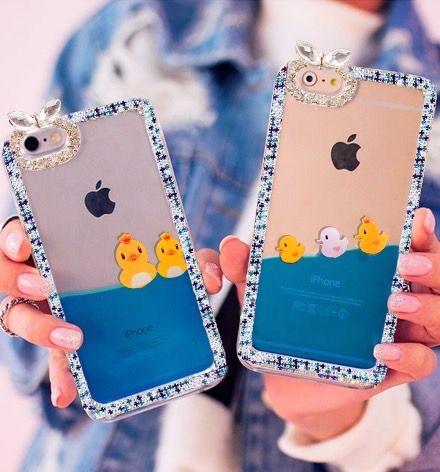 Phone case cute duck crown bling sparkle glitter stars liquid quicksand