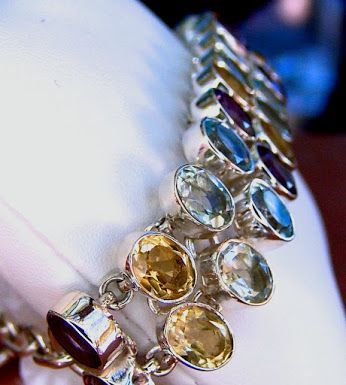 33.00 ct. Multi-Gem 92 Solid Sterling Silver Bracelet. #amethyst #citrine #prasiolite #topaz #birthstones #bracelet #jewelry #finejewelry Visit my eBay store for this and more beautiful genuine gemstone jewelry! http://stores.ebay.com/hm-fine-jewelry-and-more