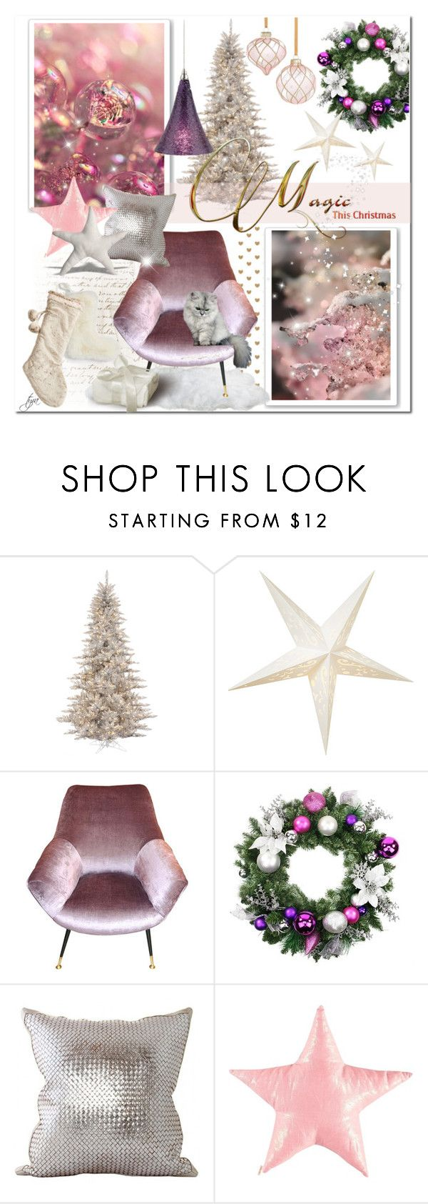 """Magic Of Christmas"" by oregonelegance ❤ liked on Polyvore featuring interior, interiors, interior design, home, home decor, interior decorating, Betsey Johnson, Cultural Intrigue, Lance Wovens and Tech Lighting"