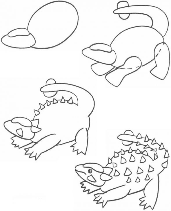 How to draw euoplocephalus dinosaurs drawing dipingere for Disegnare progetti