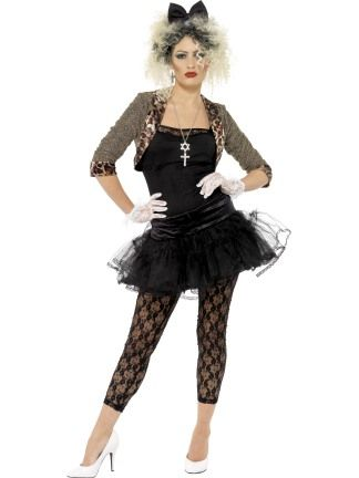 2be7453fda6d 80s hen party costume idea - 80s wild child with gold and leopard print  jacket, black top and tutu, black lace leggings, white lace gloves and  black bow ...