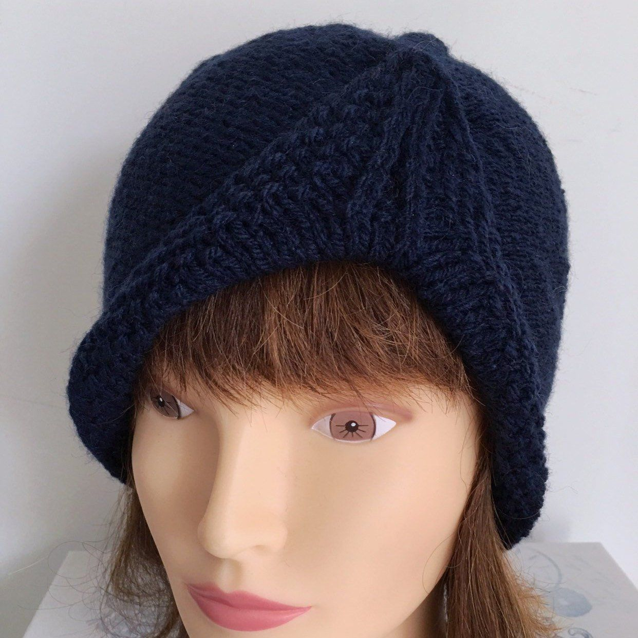 a3aca93390c Ladies Navy Blue Turban Beanie Hat