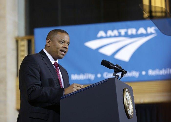 Secretary of Transportation Anthony Foxx welcomes Amtrak's new locomotives in Philadelphia!