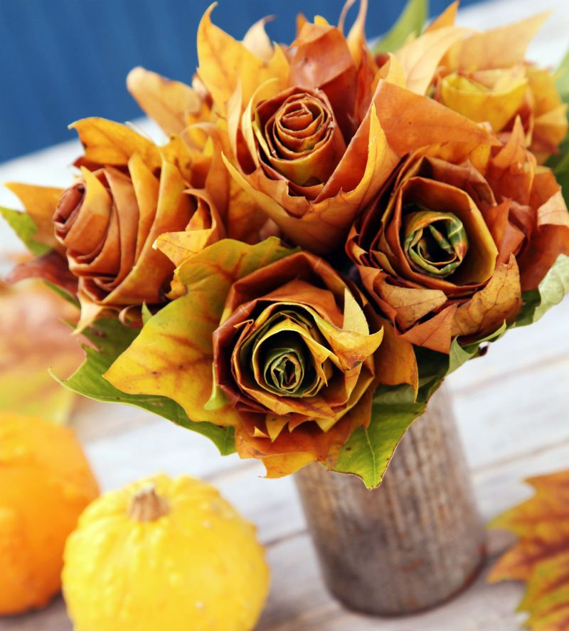 Kwiaty Z Lisci Fall Flowers Fall Decor Crafts