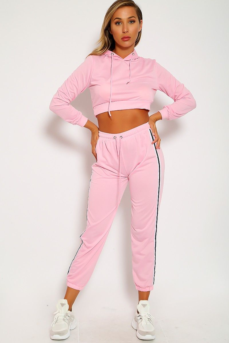 f34d08627a0eed Sexy Pink Two Piece Outfit Crop Top Sweater High Waist Pants Stripe Detail  Fitted