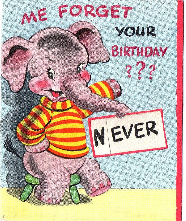 Cute Vintage 40s Birthday Card W Anthropomorphic Elephant Mid