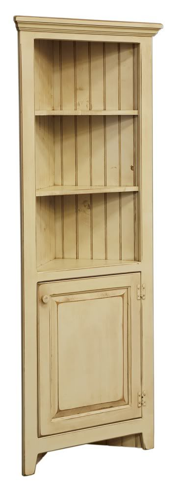 Amish Corner Cabinet Pantry Hutch Bathroom Kitchen Solid Wood Country  Distressed