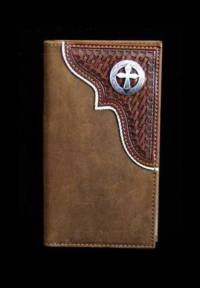 50082e4a78a4b Nocona Western Cut Out Cross Concho Wallet Rodeo Wallet Checkbook Cover  Distressed