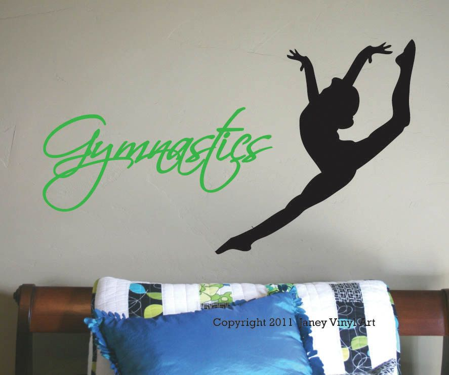 Gymnastics Wall Decal - Girls Bedroom Sports - Vinyl Wall Art - Wall  Graphic - Dance