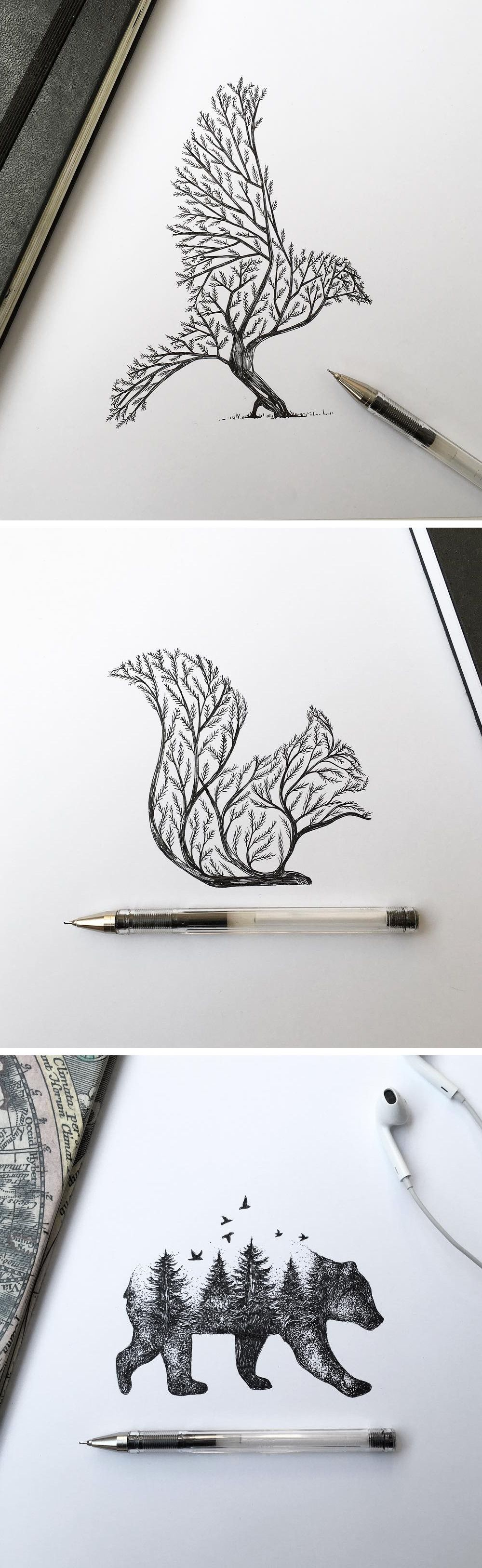 Pen ink depictions of trees sprouting into animals by alfred basha