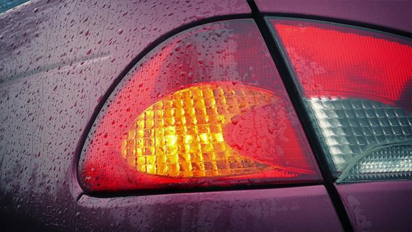 Flashing Car Back Light In The Rain Footage Videos Scene