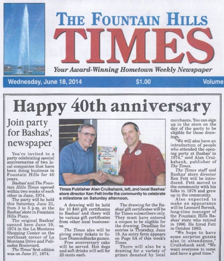 Bashas' #47 in Fountain Hills celebrates 40 years.  bashas.com