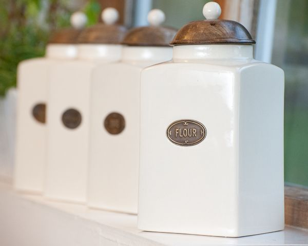 Old cream canisters with flour and sugar on jars country - Coffee tea and sugar canisters ...