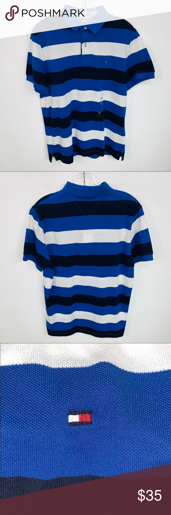 a38dd059ad NEW Mens Tommy Hilfiger Striped Polo Shirt Medium NEW With Tags Mens Tommy  Hilfiger Navy Blue Blue White Striped Short Sleeve Polo Shirt Size Medium  Tommy ...