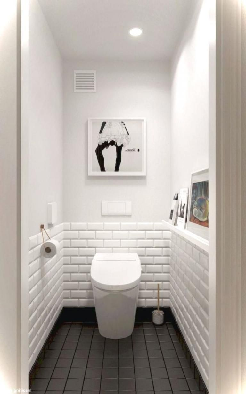 35 Wonderful Black And White Bathroom Ideas In 2020 Small White Bathrooms Small Toilet Room Trendy Bathroom