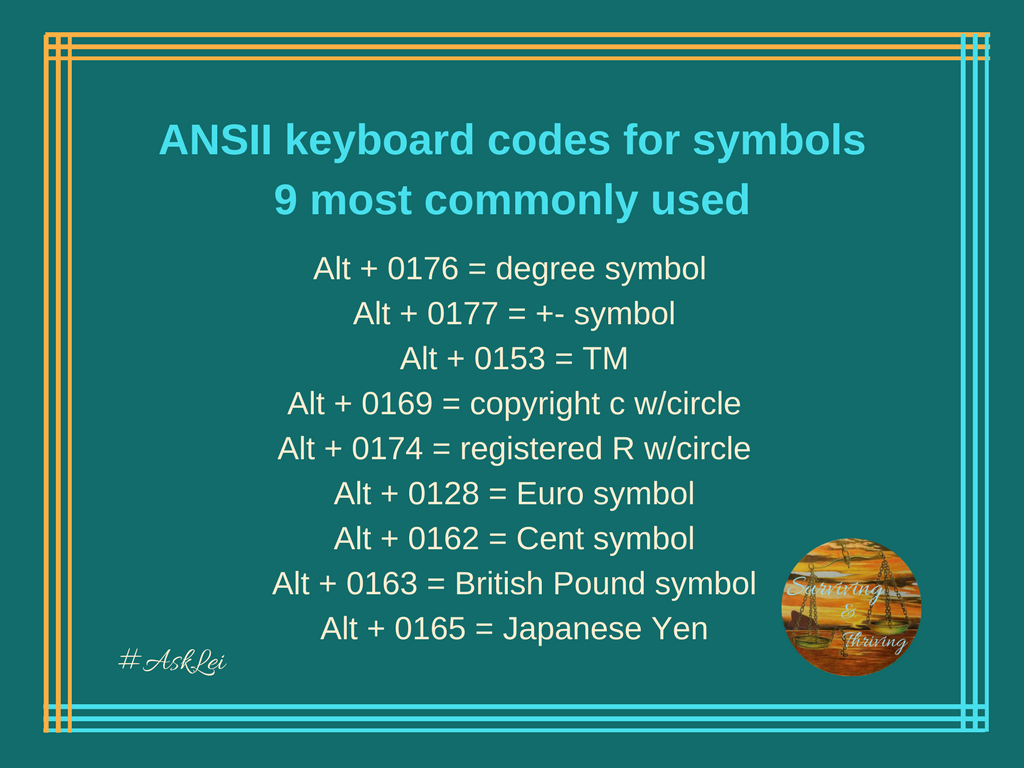 Ansii keyboard code for symbols 9 most popular computer tips ansii keyboard code for symbols 9 most popular buycottarizona Gallery