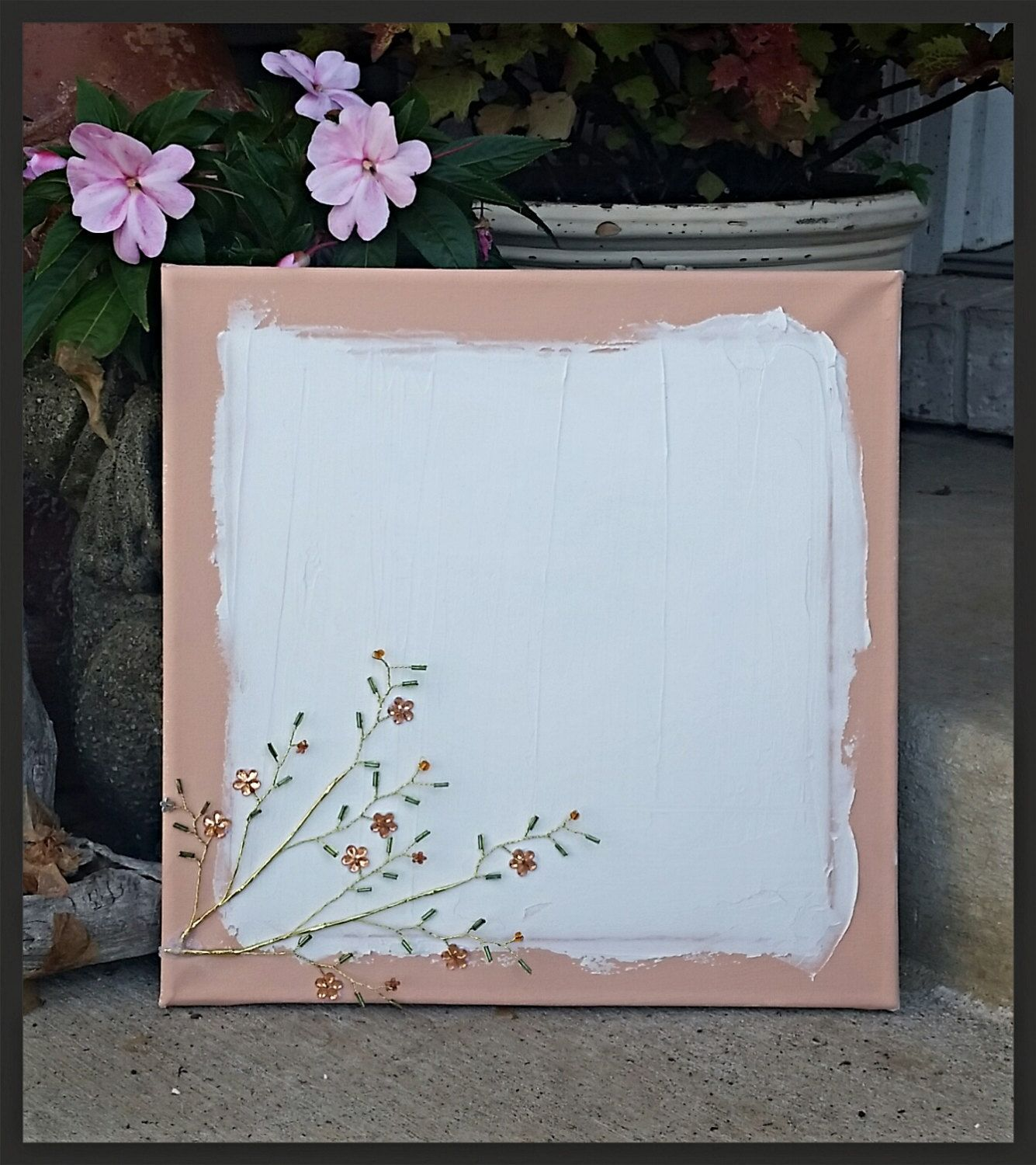 Customizable 12 by 12 inch canvas with gem embellishments - pinned by pin4etsy.com