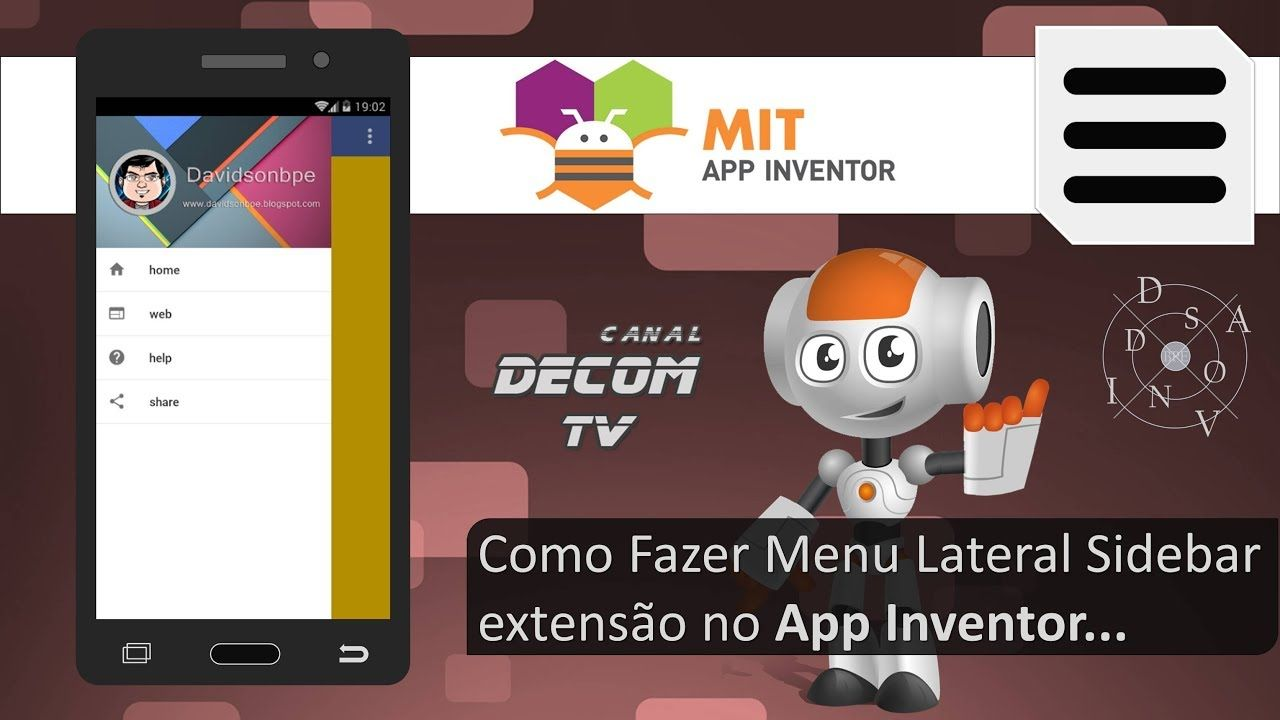 Como Fazer Menu Lateral Sidebar Extension No App Inventor Com