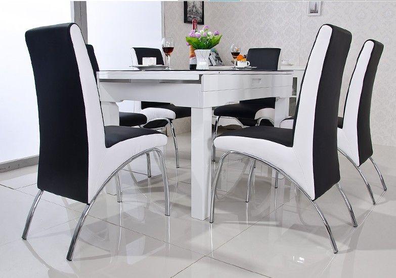 Moderne eetkamerstoel pu lederen v vormige stijl eetkamer