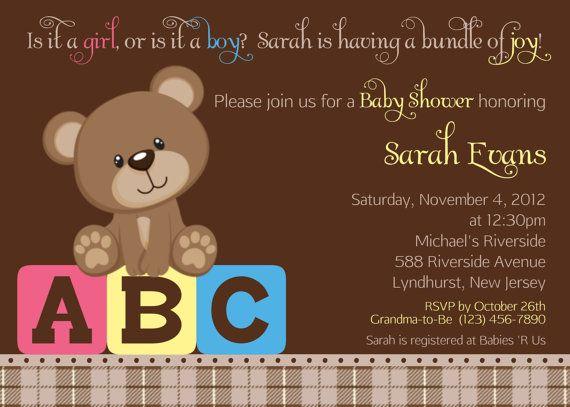 Teddy Bear ABC Invitation Personalized Custom Teddy Bear Baby