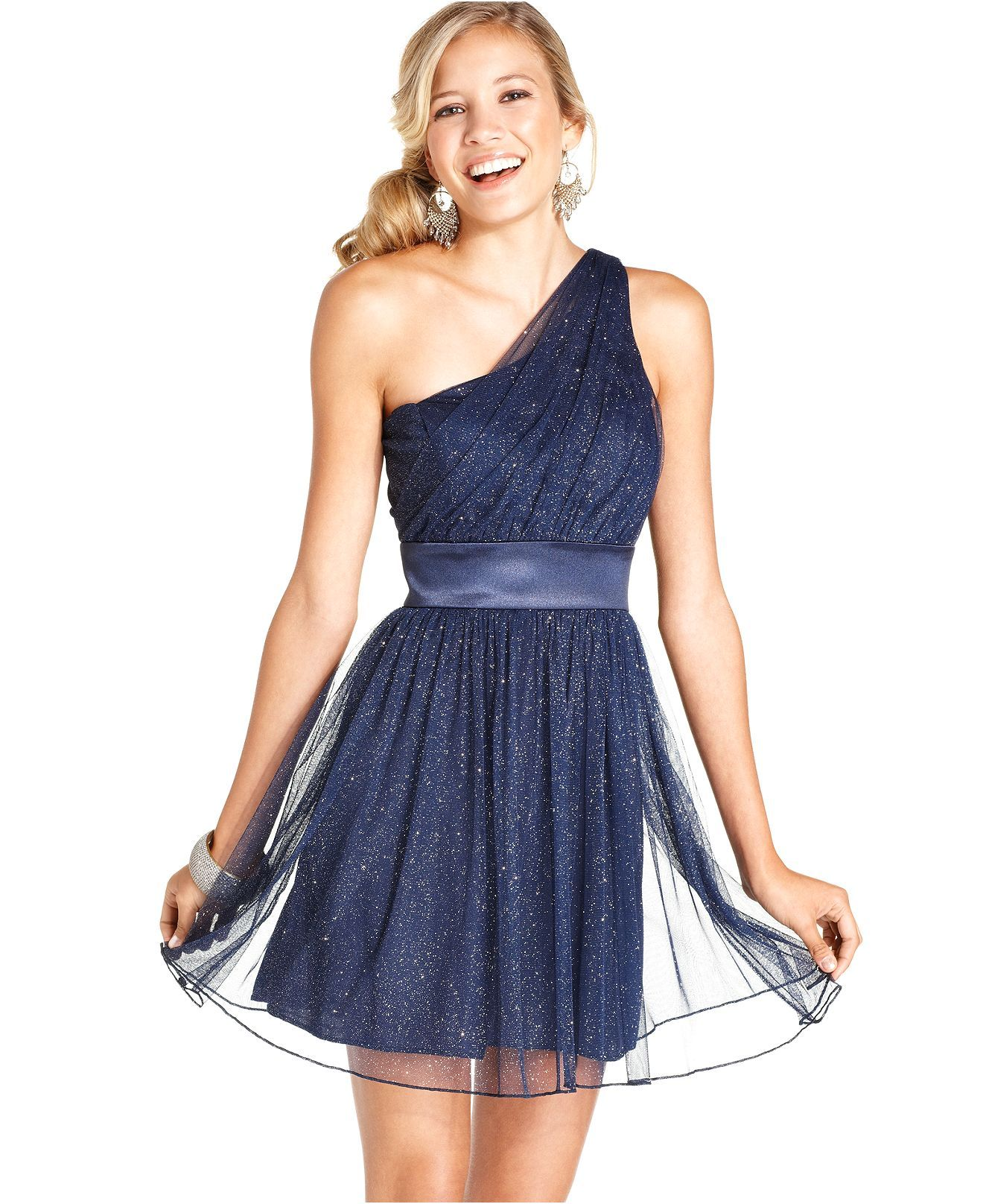 0f331c5cb Trixxi Juniors Dress, Sleeveless Glitter One-Shoulder - Juniors Dresses -  Macy's