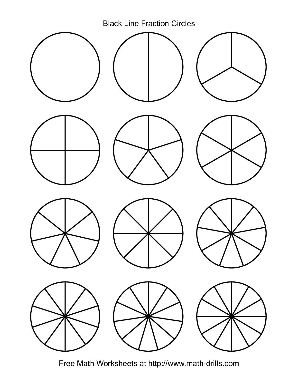 The Blackline Fraction Circles -- Small Unlabeled math worksheet from the  Fractions Worksheet page at