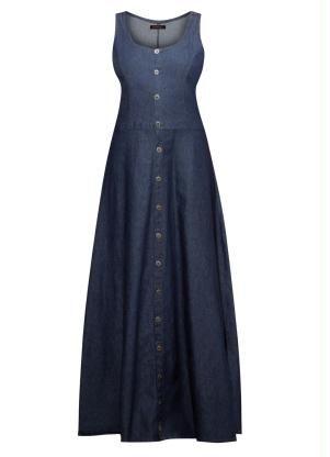 d39e9425f8 Vestido Longo Quintess Jeans Escuro com Botões - Quintess