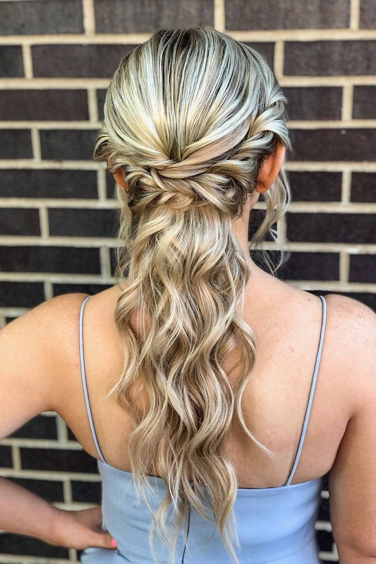 romantic curls + boho braids in a low ponytail hairstyle ...