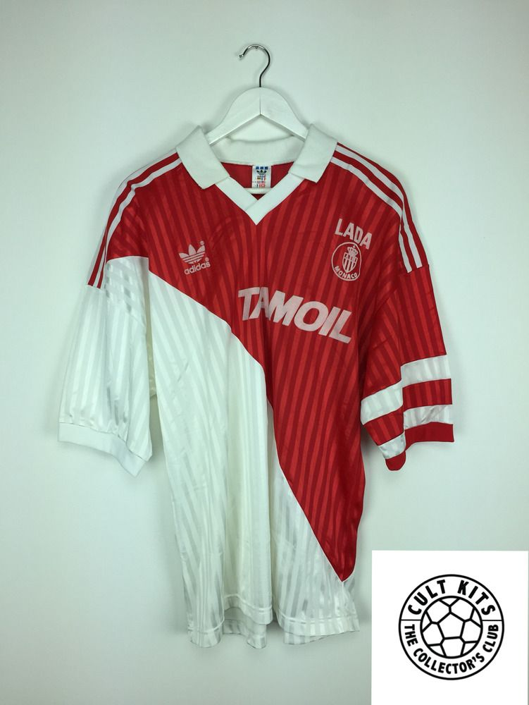 5bf868b2 Retro MONACO 90/91 Home Football Shirt (XL) Soccer Jersey Adidas Vintage