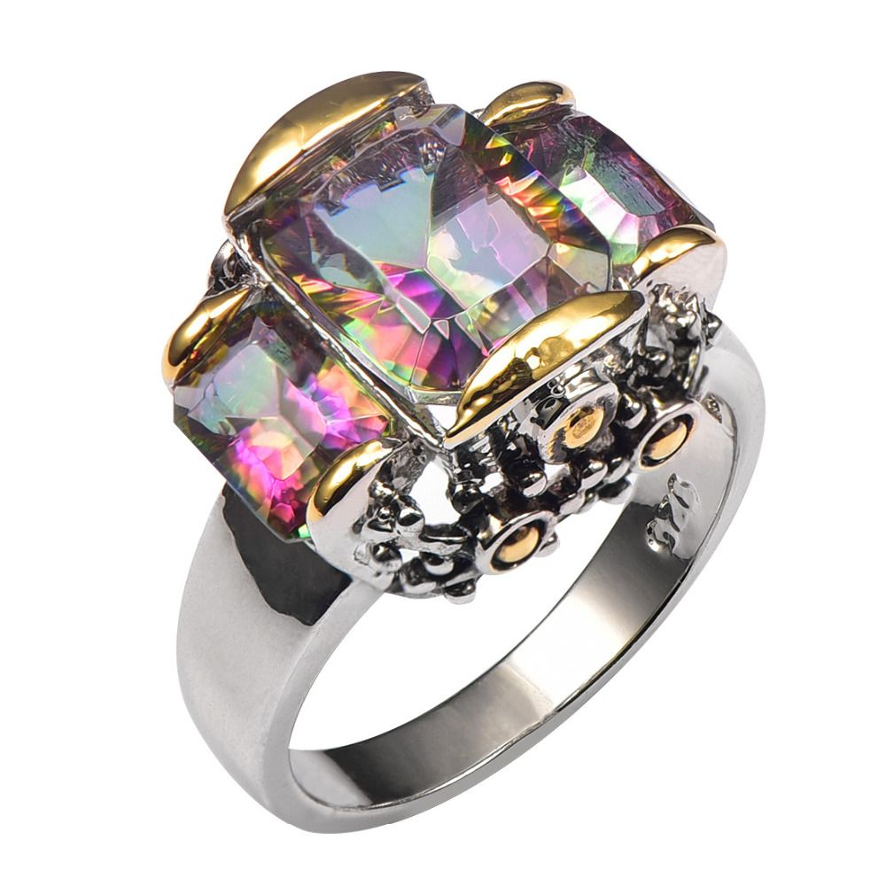 Hot Sale Rose Rainbow Crystal Zircon 925 Sterling Silver High Quantity Ring For Men and Women Size 6 7 8 9 10 F1442