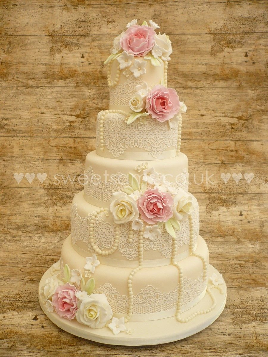peony and lace 5 tier wedding cake with edible lace and pearls ...