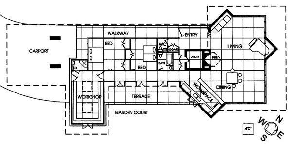 floor plan. bernard schwartz house, 1939. frank lloyd wright
