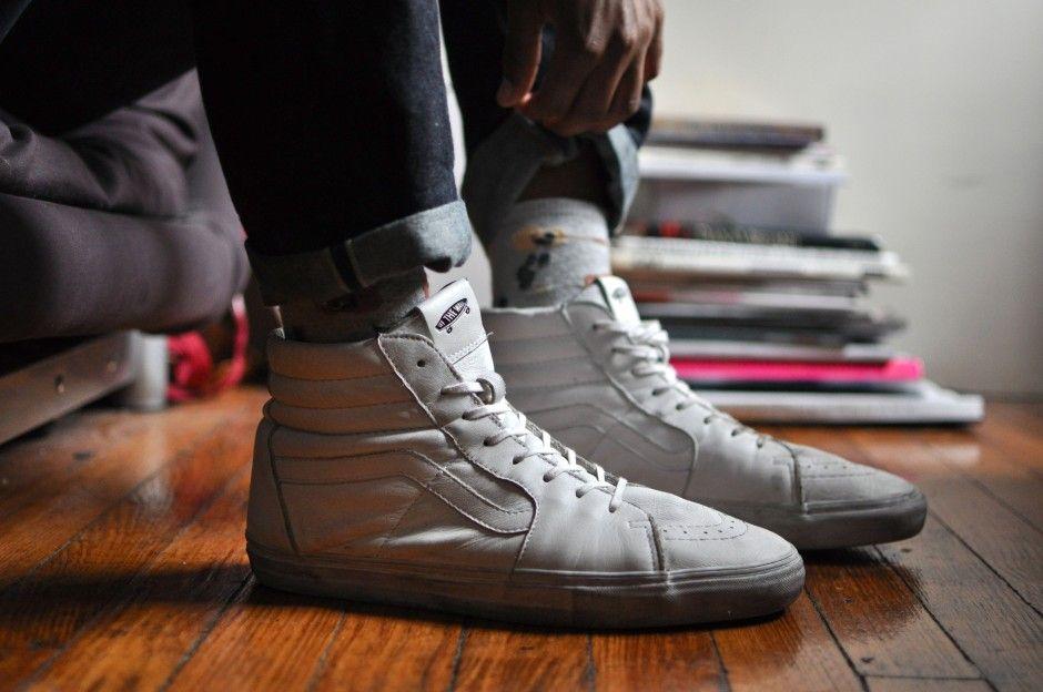 vans sk8 hi all white leather