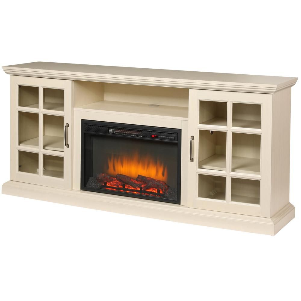 Home Decorators Collection Edenfield 70 In Freestanding Infrared Electric Fireplace Tv Stand In Aged White 365 741 165 Y The Home Depot Fireplace Tv Stand Electric Fireplace Tv Stand Fireplace Entertainment Center