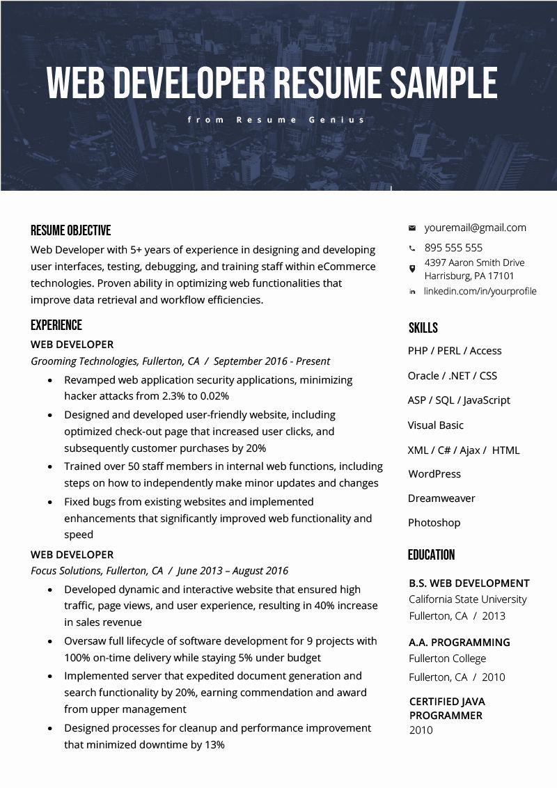 Front End Web Developer Resume Unique Web Developer Resume Sample Writing Tips In 2020 Resume Templates Web Developer Resume Resume Examples